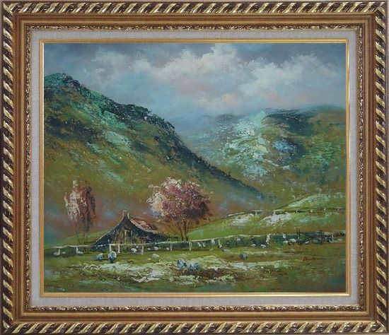 Framed Shabby Farmhouse At the Foot of the Hill Oil Painting Landscape Impressionism Exquisite Gold Wood Frame 26 x 30 Inches