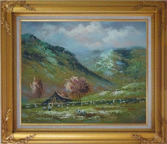 Framed Shabby Farmhouse At the Foot of the Hill Oil Painting Landscape Impressionism Gold Wood Frame with Deco Corners 27 x 31 Inches