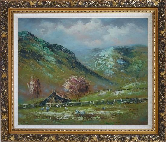 Framed Shabby Farmhouse At the Foot of the Hill Oil Painting Landscape Impressionism Ornate Antique Dark Gold Wood Frame 26 x 30 Inches