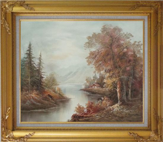 Framed Cool Brook Oil Painting Landscape River Classic Gold Wood Frame with Deco Corners 27 x 31 Inches