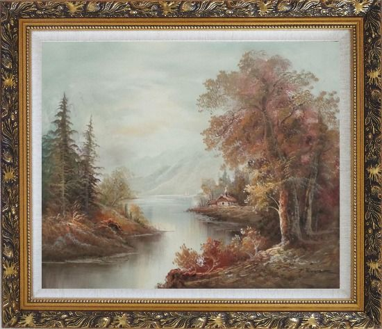 Framed Cool Brook Oil Painting Landscape River Classic Ornate Antique Dark Gold Wood Frame 26 x 30 Inches