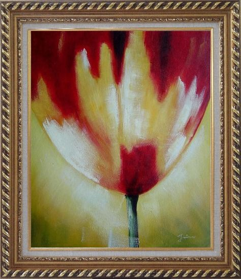 Framed Red Blooming Tulip Flower Modern Oil painting Exquisite Gold Wood Frame 30 x 26 Inches