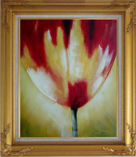 Framed Red Blooming Tulip Flower Modern Oil painting Gold Wood Frame with Deco Corners 31 x 27 Inches