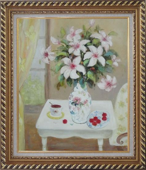 Framed Beautiful Still Life Flower Bouquet on Window Table Oil Painting Fruit Classic Exquisite Gold Wood Frame 30 x 26 Inches