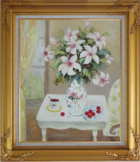Framed Beautiful Still Life Flower Bouquet on Window Table Oil Painting Fruit Classic Gold Wood Frame with Deco Corners 31 x 27 Inches
