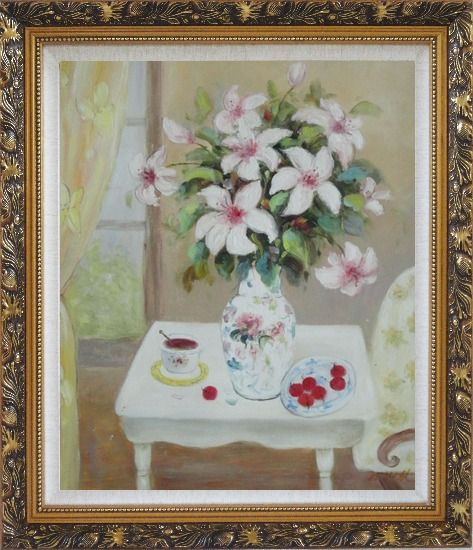 Framed Beautiful Still Life Flower Bouquet on Window Table Oil Painting Fruit Classic Ornate Antique Dark Gold Wood Frame 30 x 26 Inches