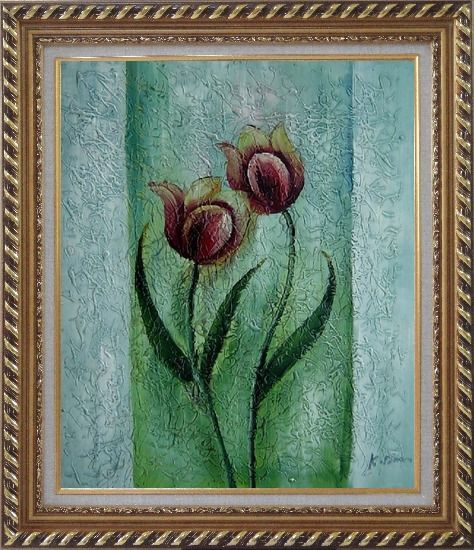 Framed Blooming Purple Tulip Modern Flower Oil painting Decorative Exquisite Gold Wood Frame 30 x 26 Inches