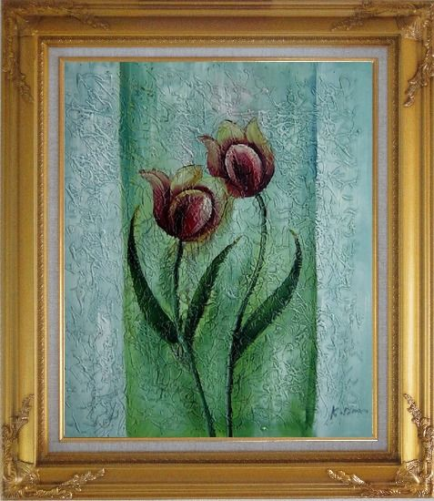 Framed Blooming Purple Tulip Modern Flower Oil painting Decorative Gold Wood Frame with Deco Corners 31 x 27 Inches