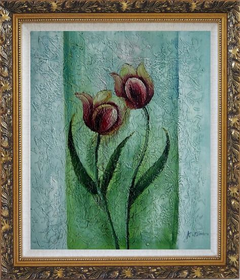 Framed Blooming Purple Tulip Modern Flower Oil painting Decorative Ornate Antique Dark Gold Wood Frame 30 x 26 Inches