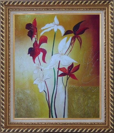 Framed Red and White Flowers Oil Painting Decorative Exquisite Gold Wood Frame 30 x 26 Inches