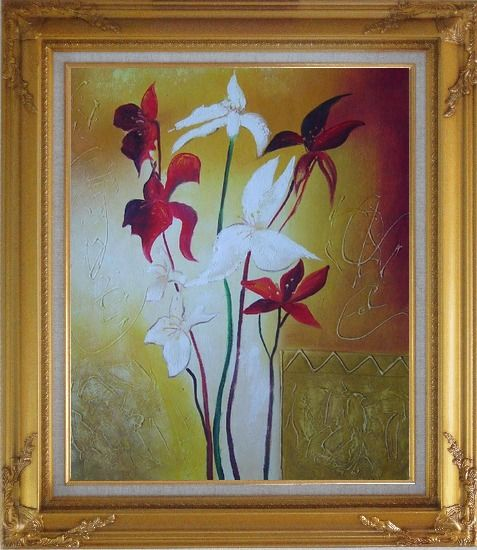 Framed Red and White Flowers Oil Painting Decorative Gold Wood Frame with Deco Corners 31 x 27 Inches