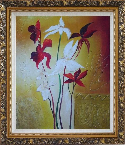 Framed Red and White Flowers Oil Painting Decorative Ornate Antique Dark Gold Wood Frame 30 x 26 Inches