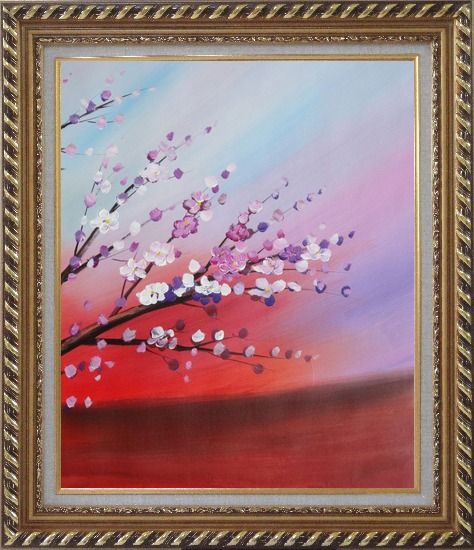 Framed Plum Branches with Purple and White Flowers Oil Painting Asian Exquisite Gold Wood Frame 30 x 26 Inches