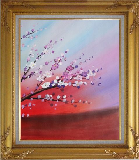 Framed Plum Branches with Purple and White Flowers Oil Painting Asian Gold Wood Frame with Deco Corners 31 x 27 Inches
