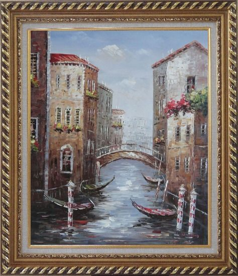 Framed Noon Break Time In Street Of Venice Oil Painting Italy Impressionism Exquisite Gold Wood Frame 30 x 26 Inches
