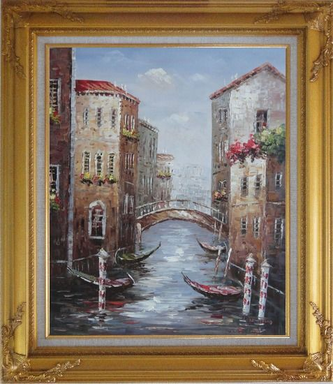 Framed Noon Break Time In Street Of Venice Oil Painting Italy Impressionism Gold Wood Frame with Deco Corners 31 x 27 Inches