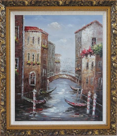 Framed Noon Break Time In Street Of Venice Oil Painting Italy Impressionism Ornate Antique Dark Gold Wood Frame 30 x 26 Inches