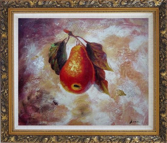Framed Pear Oil painting Fruit Decorative Ornate Antique Dark Gold Wood Frame 26 x 30 Inches