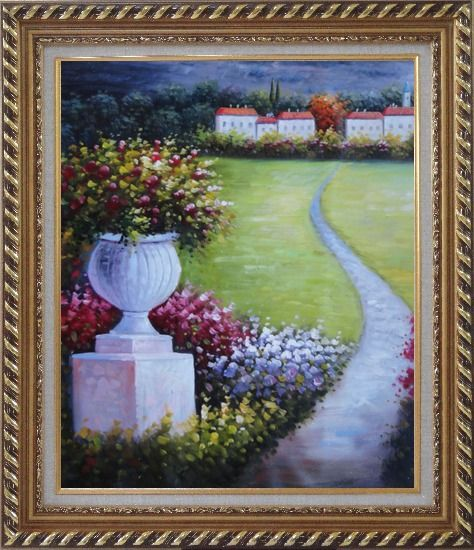 Framed Flower Pot in Garden Of Mediterranean Coast Oil Painting Naturalism Exquisite Gold Wood Frame 30 x 26 Inches