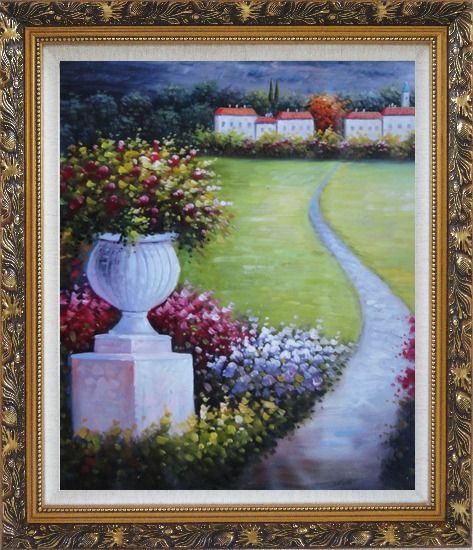 Framed Flower Pot in Garden Of Mediterranean Coast Oil Painting Naturalism Ornate Antique Dark Gold Wood Frame 30 x 26 Inches