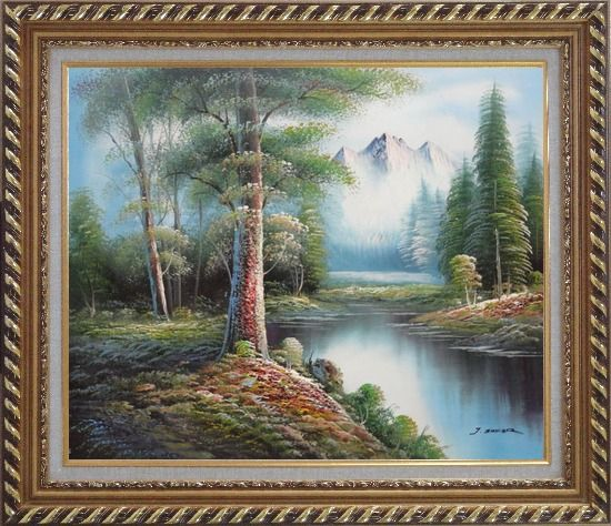 Framed Trees, Peaceful Stream and Snow Mountain Oil Painting Landscape River Naturalism Exquisite Gold Wood Frame 26 x 30 Inches