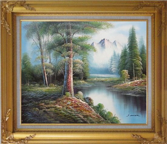 Framed Trees, Peaceful Stream and Snow Mountain Oil Painting Landscape River Naturalism Gold Wood Frame with Deco Corners 27 x 31 Inches