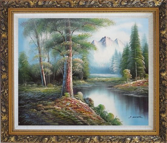 Framed Trees, Peaceful Stream and Snow Mountain Oil Painting Landscape River Naturalism Ornate Antique Dark Gold Wood Frame 26 x 30 Inches