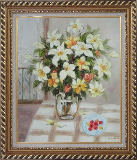 Framed Flower in Vase with Cherry Dish On Table Oil Painting Still Life Bouquet Naturalism Exquisite Gold Wood Frame 30 x 26 Inches