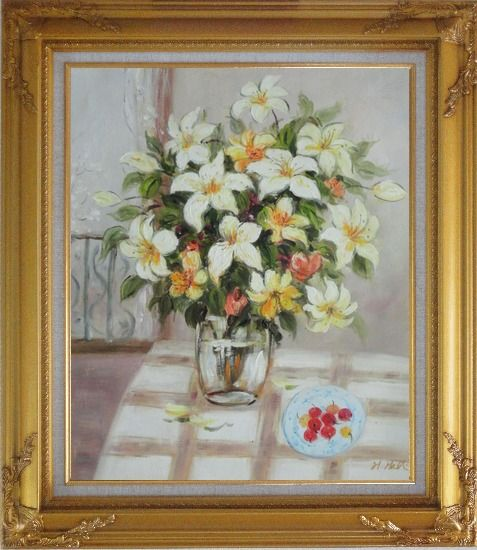 Framed Flower in Vase with Cherry Dish On Table Oil Painting Still Life Bouquet Naturalism Gold Wood Frame with Deco Corners 31 x 27 Inches