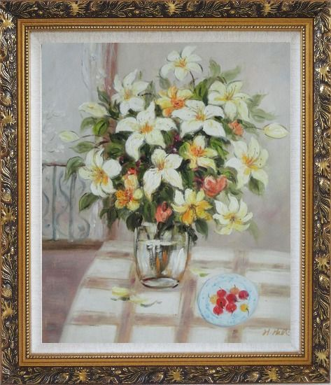 Framed Flower in Vase with Cherry Dish On Table Oil Painting Still Life Bouquet Naturalism Ornate Antique Dark Gold Wood Frame 30 x 26 Inches