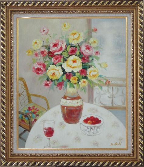 Framed Pink, Yellow and Red Flowers in Vase with Red Wine and Fruits on Table Oil Painting Still Life Bouquet Naturalism Exquisite Gold Wood Frame 30 x 26 Inches