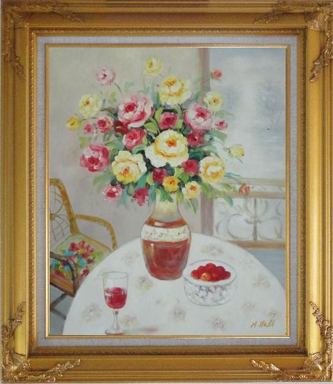 Framed Pink, Yellow and Red Flowers in Vase with Red Wine and Fruits on Table Oil Painting Still Life Bouquet Naturalism Gold Wood Frame with Deco Corners 31 x 27 Inches