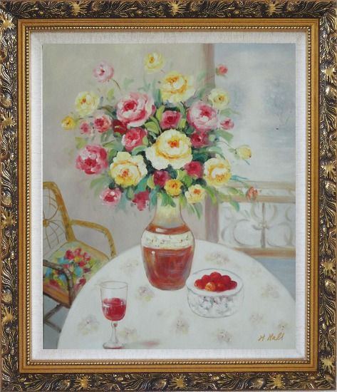 Framed Pink, Yellow and Red Flowers in Vase with Red Wine and Fruits on Table Oil Painting Still Life Bouquet Naturalism Ornate Antique Dark Gold Wood Frame 30 x 26 Inches
