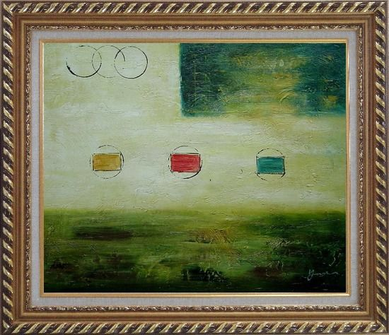 Framed Yellow and Green Abstract Oil Painting Nonobjective Modern Exquisite Gold Wood Frame 26 x 30 Inches