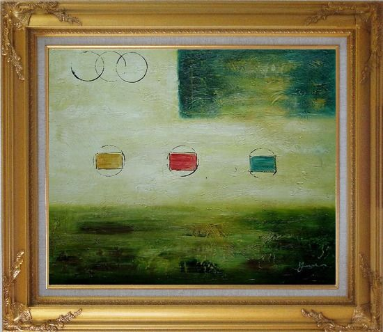 Framed Yellow and Green Abstract Oil Painting Nonobjective Modern Gold Wood Frame with Deco Corners 27 x 31 Inches