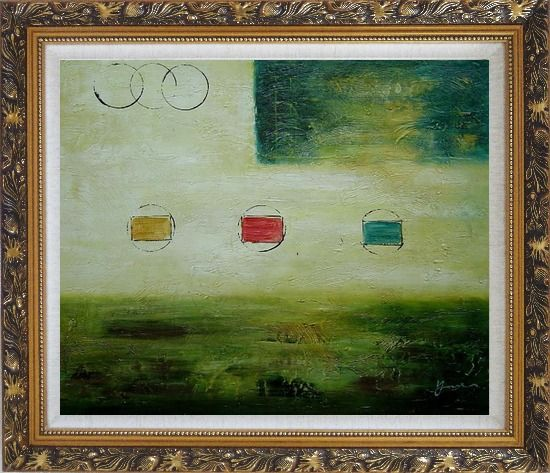 Framed Yellow and Green Abstract Oil Painting Nonobjective Modern Ornate Antique Dark Gold Wood Frame 26 x 30 Inches