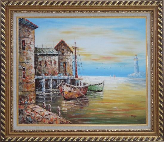 Framed Fishing Boats Parks On Harbour Oil Painting Naturalism Exquisite Gold Wood Frame 26 x 30 Inches