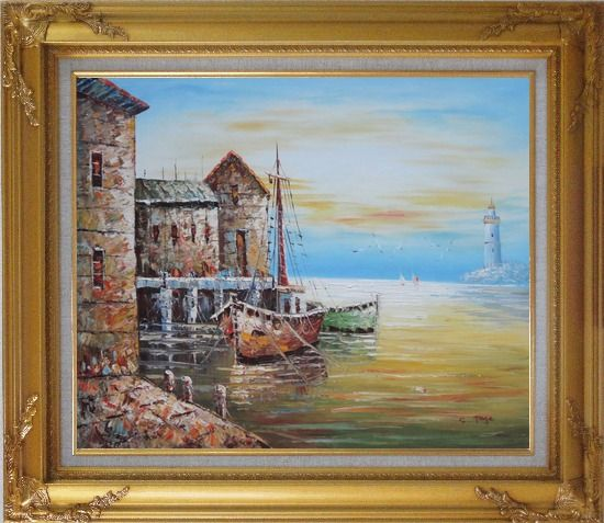 Framed Fishing Boats Parks On Harbour Oil Painting Naturalism Gold Wood Frame with Deco Corners 27 x 31 Inches