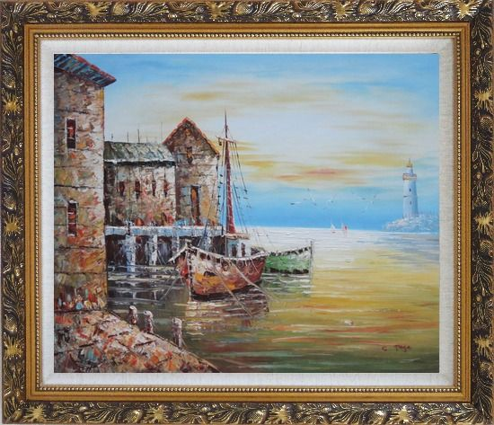 Framed Fishing Boats Parks On Harbour Oil Painting Naturalism Ornate Antique Dark Gold Wood Frame 26 x 30 Inches