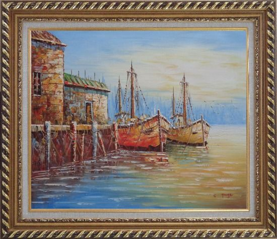 Framed Fishing Village With Boats, Seagulls Oil Painting Naturalism Exquisite Gold Wood Frame 26 x 30 Inches