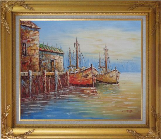 Framed Fishing Village With Boats, Seagulls Oil Painting Naturalism Gold Wood Frame with Deco Corners 27 x 31 Inches