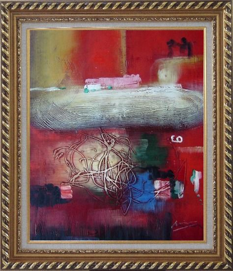 Framed Red Abstract Oil Painting Nonobjective Modern Exquisite Gold Wood Frame 30 x 26 Inches