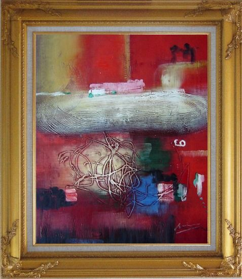 Framed Red Abstract Oil Painting Nonobjective Modern Gold Wood Frame with Deco Corners 31 x 27 Inches