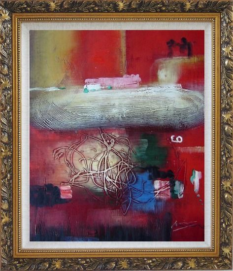 Framed Red Abstract Oil Painting Nonobjective Modern Ornate Antique Dark Gold Wood Frame 30 x 26 Inches