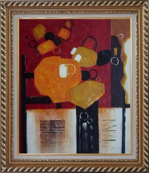Framed Colorful Abstract Oil Painting Nonobjective Modern Exquisite Gold Wood Frame 30 x 26 Inches