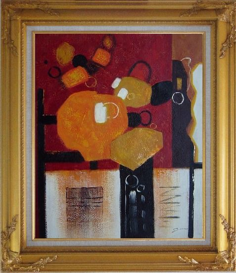 Framed Colorful Abstract Oil Painting Nonobjective Modern Gold Wood Frame with Deco Corners 31 x 27 Inches