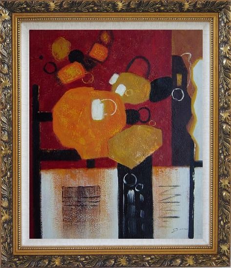 Framed Colorful Abstract Oil Painting Nonobjective Modern Ornate Antique Dark Gold Wood Frame 30 x 26 Inches