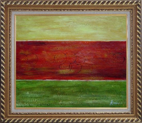 Framed Yellow, Red and Green Abstract Oil Painting Nonobjective Modern Exquisite Gold Wood Frame 26 x 30 Inches