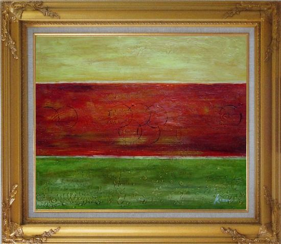 Framed Yellow, Red and Green Abstract Oil Painting Nonobjective Modern Gold Wood Frame with Deco Corners 27 x 31 Inches