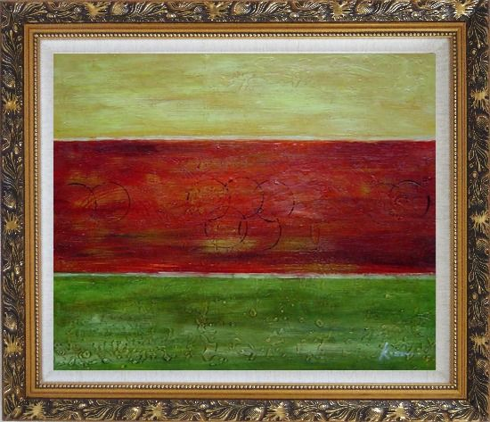 Framed Yellow, Red and Green Abstract Oil Painting Nonobjective Modern Ornate Antique Dark Gold Wood Frame 26 x 30 Inches